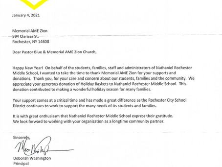 A Letter from Nathaniel Rochester Middle School