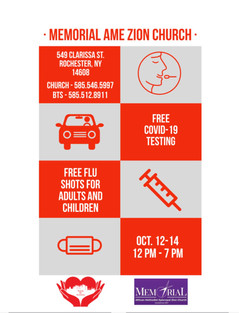 Please share and spread the word. Free COVID Testing and Free Flu shoots at Memorial AME Zion church tomorrow and Wednesday 12:00-7:00 pm. Free Food on Wednesday at our Food Pantry.