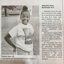 Hats off to our very own Malala Sizer. Featured in a D&C article in today's paper, she is a member of the Memorial AME Zion Church Family and a Beyond the Sanctuary Volunteer. We miss her and her twin sister who both helped us tremendously this summer. No task was too big or too small. Now back in school, we know they will continue to make us proud.