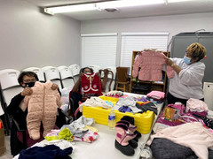 Shout out to Mary Ann Wolfe, Glenda and Judy Knight for spending all day separating and labeling the bags and bags of children's clothes donated to Beyond the Sanctuary's Clothes Closet by The Children's Agenda and The Church of the Assumption. We can't wait to bless some families with these delightful items.