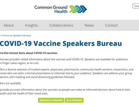 Common Ground Health Launches COVID-19 Vaccine Speakers Bureau