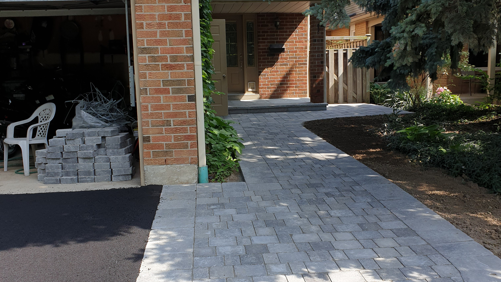 interlock and asphalt driveway installation