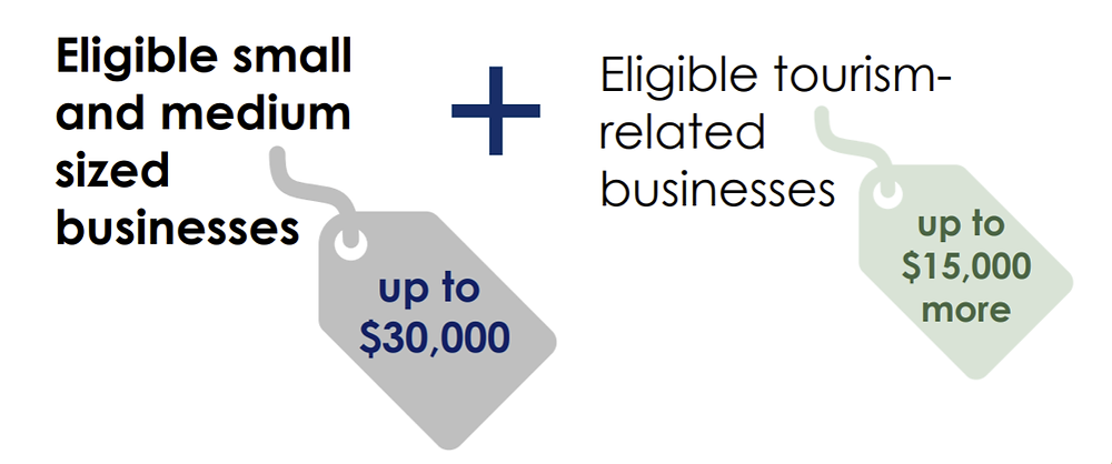 Illustration of the possible grant awards for recovering BC small and medium businesses.