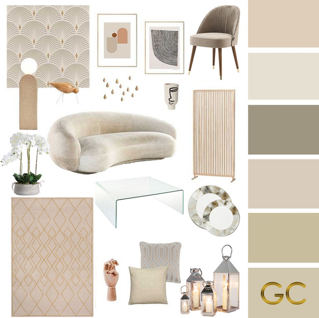 OffWhite Living Room Moodboard