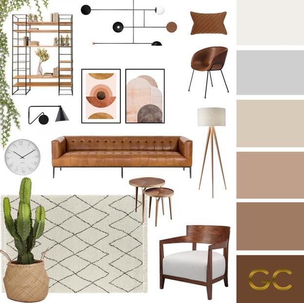 Brown Living Room Moodboard