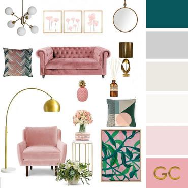 Pink Living Room Moodboard