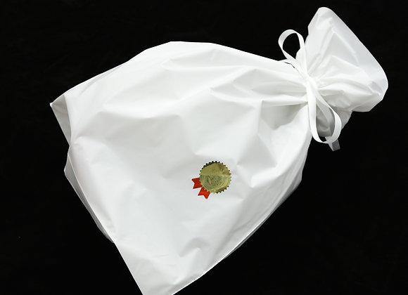ギフトバック ホワイト(梨地リボン付巾着)