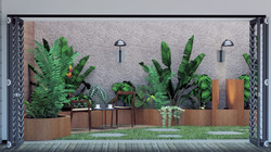 Courton steel planters with stone cladding