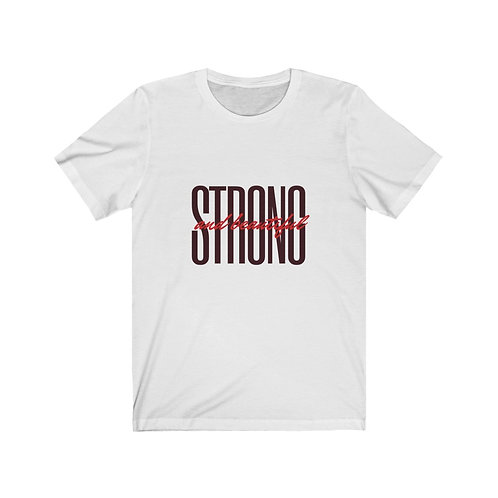"Black/Red ""Strong and Beautiful"" Short Sleeve Tee"