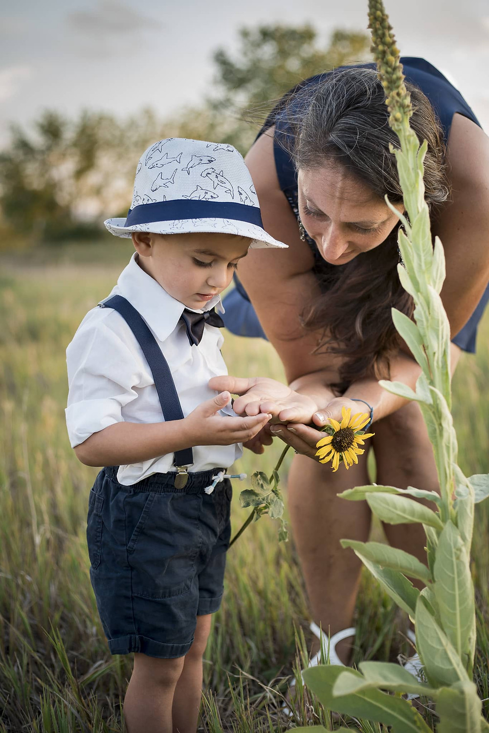Mom teaches son about flowers and seeds in Lakewood, Colorado
