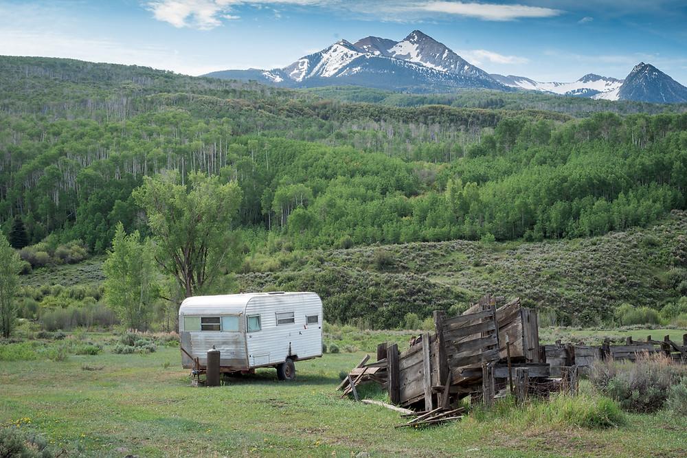 Shepherd's Trailer in Mountain Scene