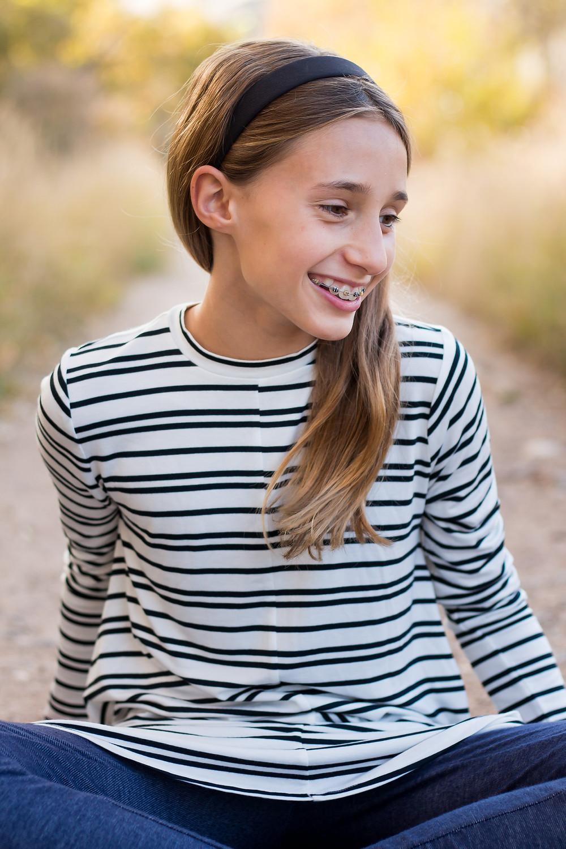 Cute pre-teen girl, fall portrait, Golden, Colorado