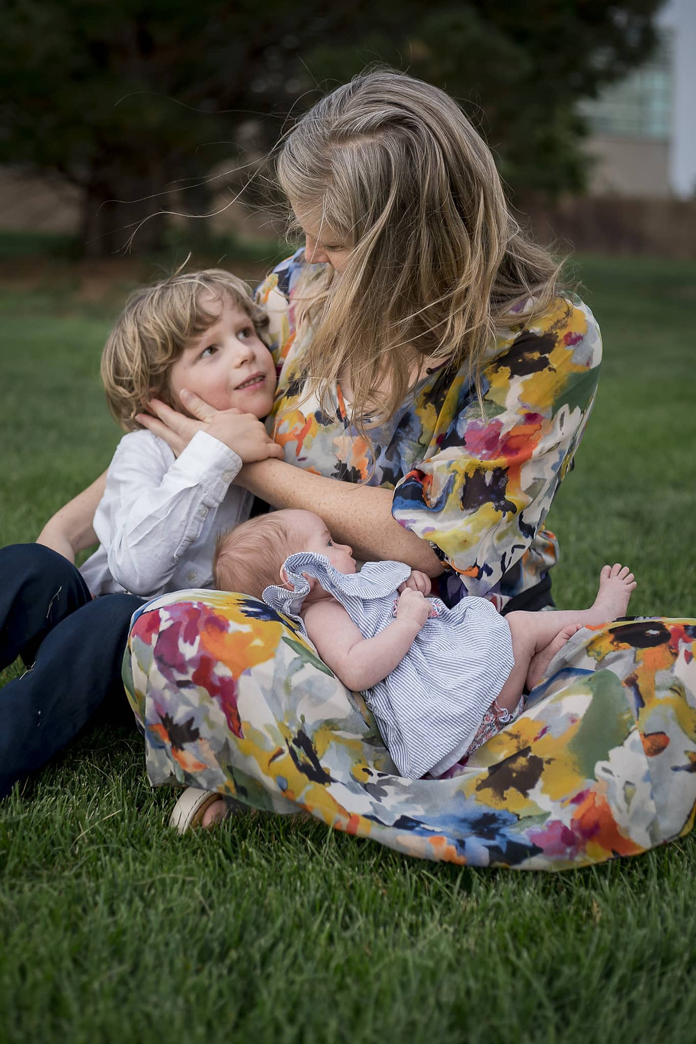 Mom holding baby and son in Lakewood, Colorado