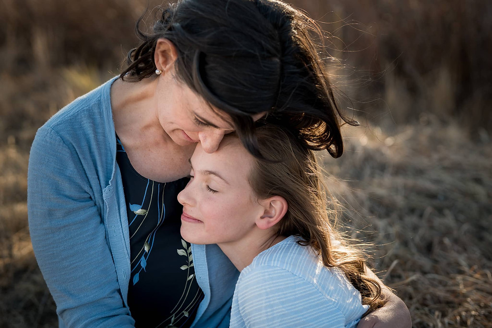 Mother and daughter in a Colorado family portrait.