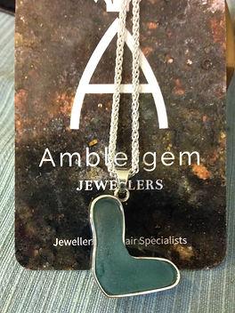Amblergem Jewellers Grainger Market bespoke pendant seaglass and silver