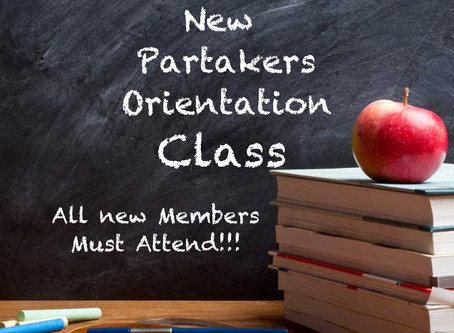 New Partakers Orientation
