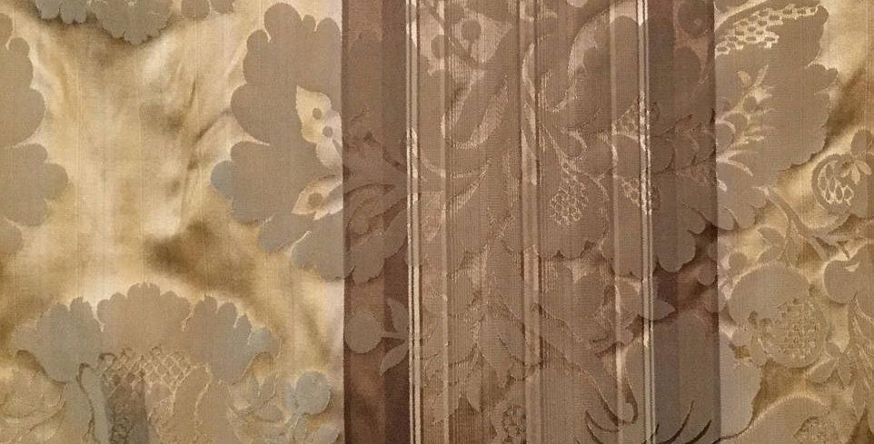 Yellow/ Brown Silk Damask