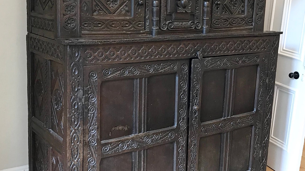 Excellent Circa 17th Century Shropshire Hand Carved English Oak Court Cupboard