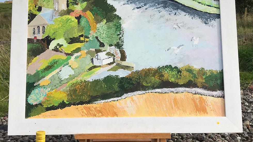 "T Gavin Johnston ""Duddingston Loch Edinburgh"" Fine Oil Abstract Painting c1995"