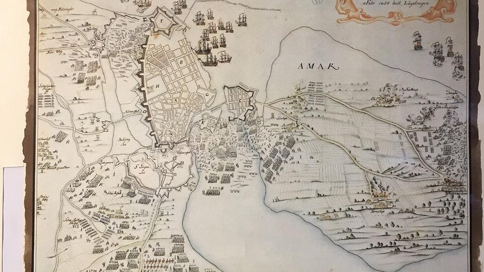 Fine Facsimile Map & Document Assault on Copenhagen 1659 Framed Sweden v Denmark