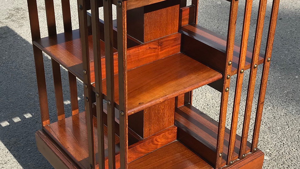 Maple & Co Antique Edwardian Mahogany Revolving Library Bookcase Book Shelf