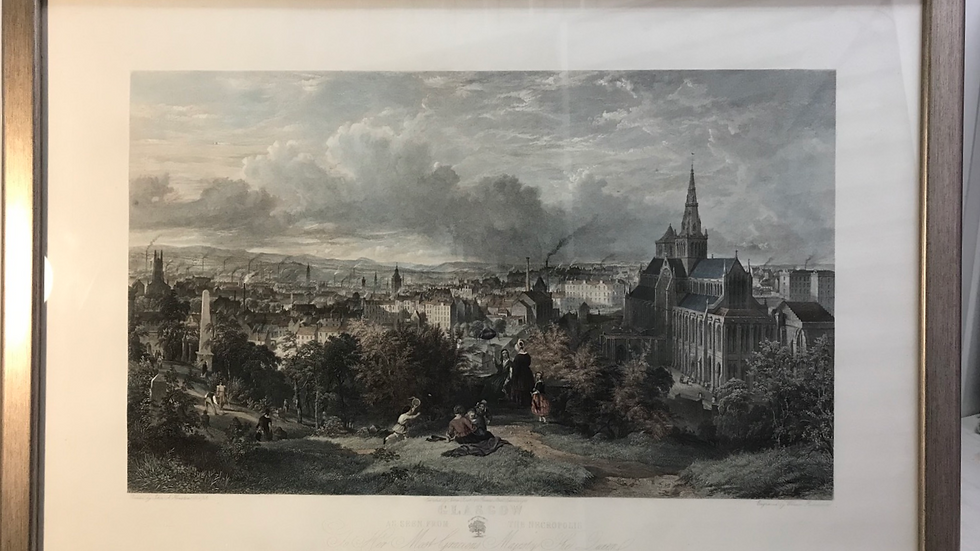 Glasgow From The Necropolis-Large 19th C Hand Coloured Engraving - After Houston