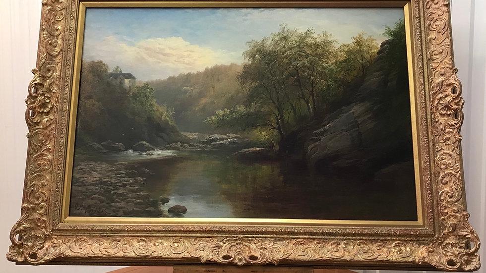 George Henry Jenkins (British 1843-1914) Fine Devon River Landscape & Fisherman
