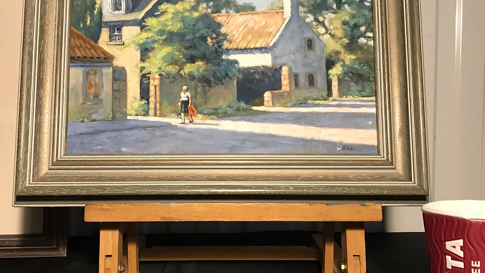 "John Stoa (Dundee 20th C) Fine Original Painting ""Aberlady"" (Edinburgh Scotland)"