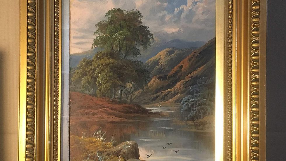 R.Marshall / Roberto Marshall Antique Scottish Landscape Oil Painting Loch Lochy