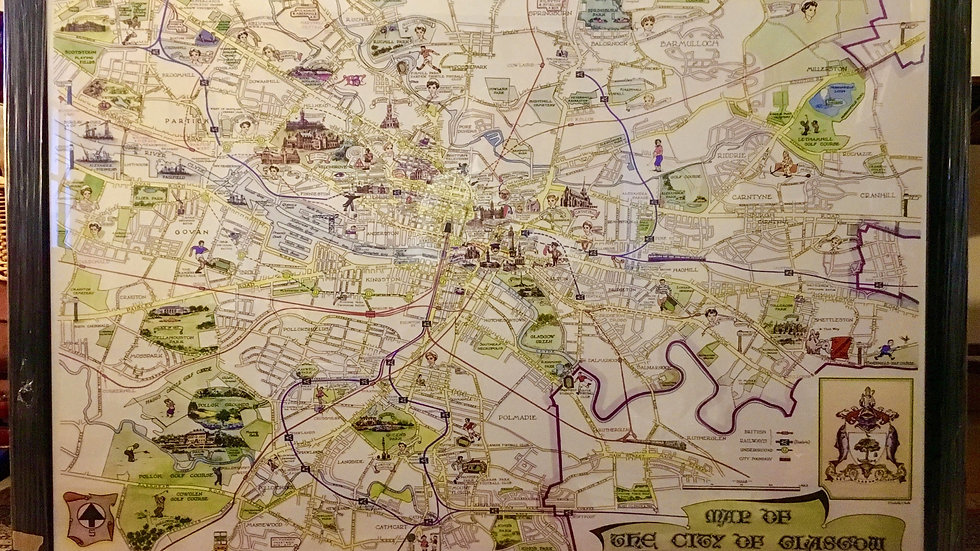 FRAMED - V. Large A0 Size Vintage Glasgow City Municipal Map circa 1957 - Pre M8