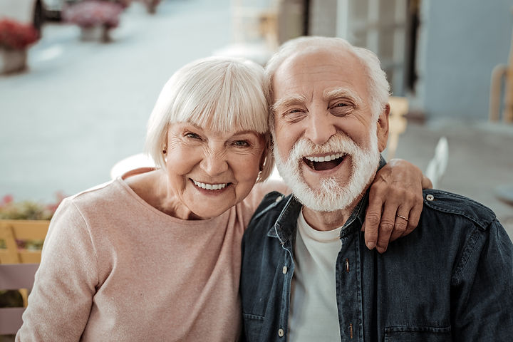 Elderly couple. Joyful nice elderly coup
