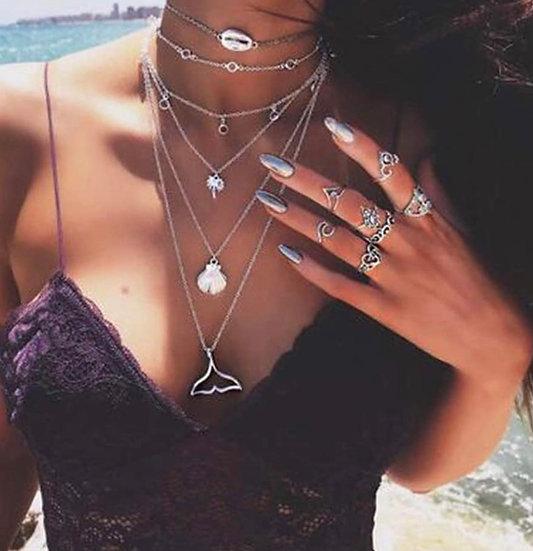 Boho Ocean Beach multi chain chocker necklace