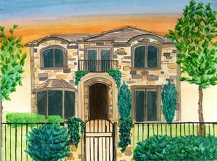 denver-mansion-gouache-painting