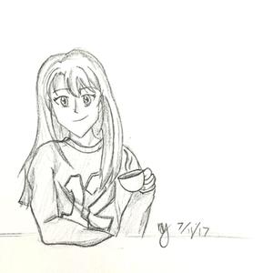 Coffee Girl Drawing