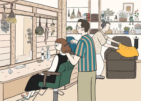 美容院 「花笑ミ」 ディスプレイ用イラスト