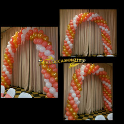 Peach/Gold.White Balloon Arch