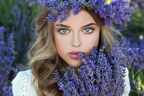 Blonde girl with purple flowers