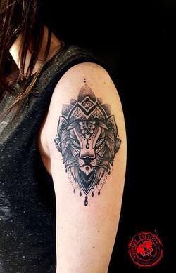 mandala lion tattoo #bishoprotary #worldfamousink #tatouagerennes #tatoueur #photo #artistetatouer #