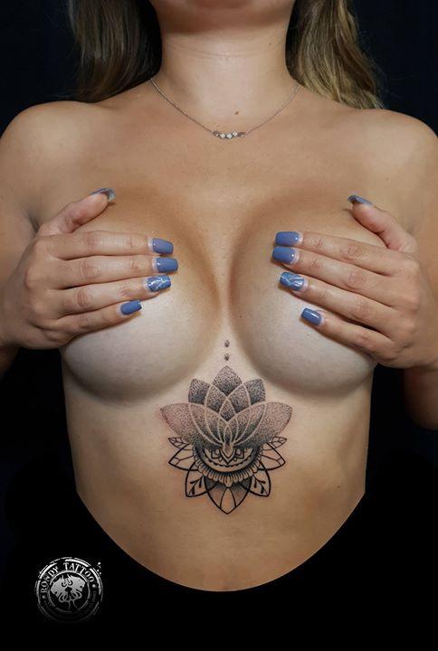 sternum lotus tattoo www.rondytattoo