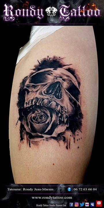 #tetedemort #rose #tatouage #réalismetattoo #tatouagerennes #tatoueur #artistetatouer #tattooartist