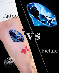 Tattoo vs Picture  #diamanttattoo #bijoux  #bishoprotary #worldfamousink #tatouagerennes #tatoueur #