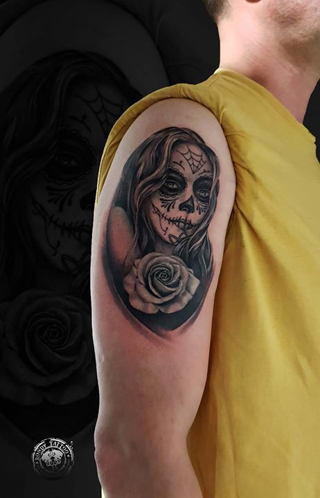 Día de la muerte #tattoo #bishoprotary #worldfamousink #tatouagerennes #tatoueur #photo #artistetato