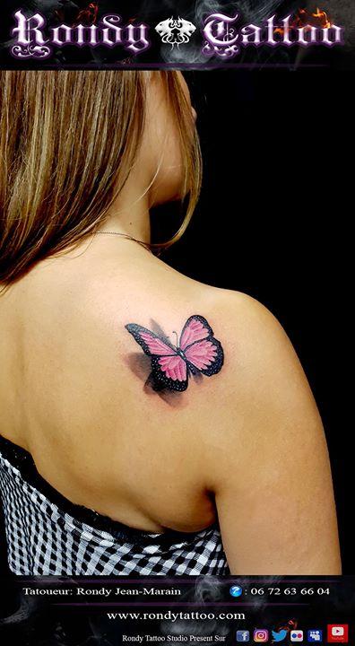Papillon 3D tattoo #tatouage #tatouagerennes #tatoueur #artistetatouer #tattooartist #tatoueurrennes