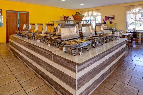 Almoço com Buffet Livre, sopa, churrasco e sobremesa (Sab-Dom e feriados)