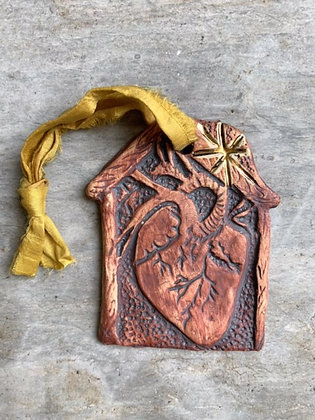 Love Dwells Ornament: Gold