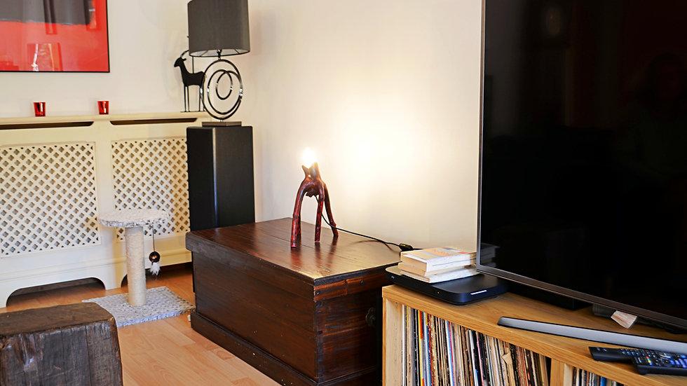 """War of the Worlds""- Red Elderwood Desk Lamp"