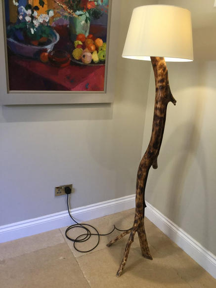 Scorched ash standing lamp