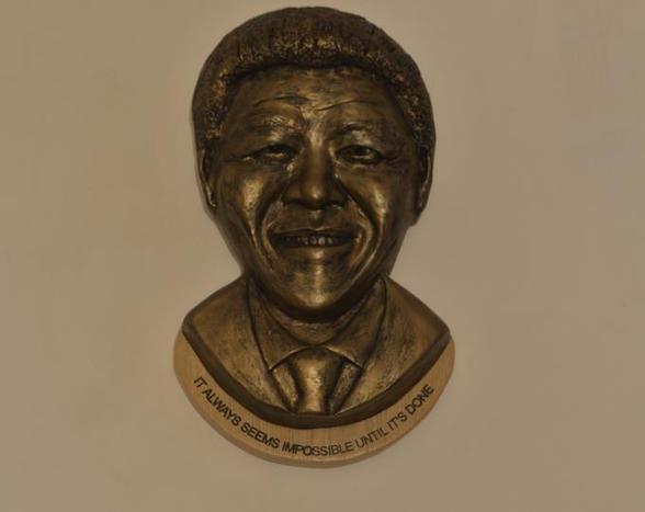 Bronze Nelson Mandela sculpture with quote