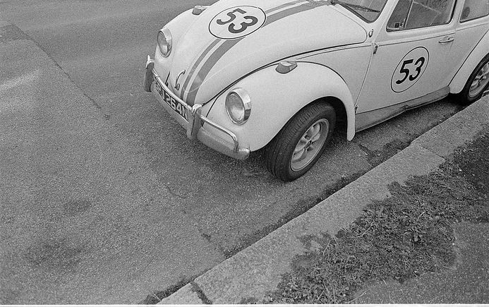 VW Car Herbie bw print digital film