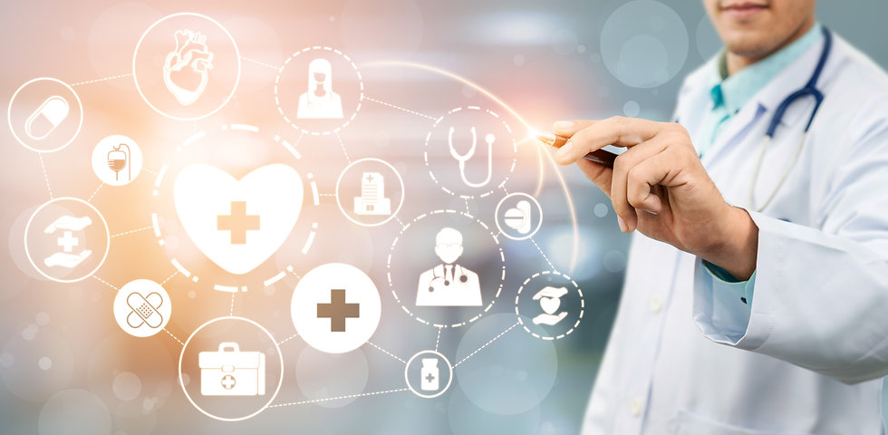 Medical Healthcare Concept - Doctor in h
